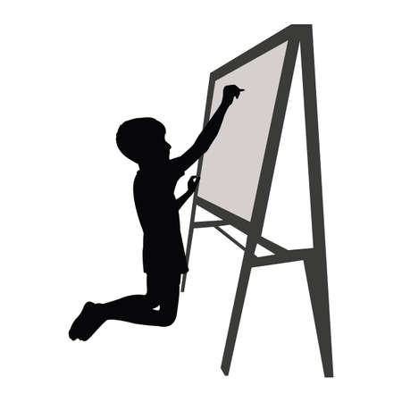 a student boy writing on board, silhouette vector