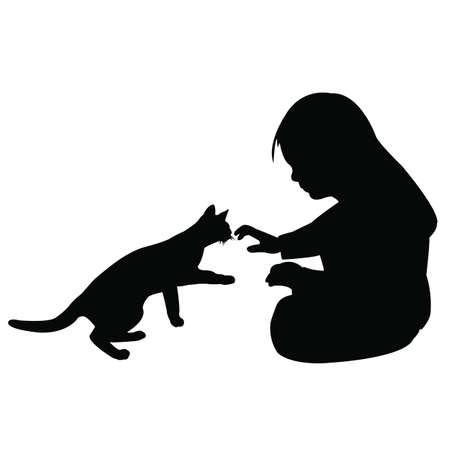 a girl playing with a cat, silhouette vector