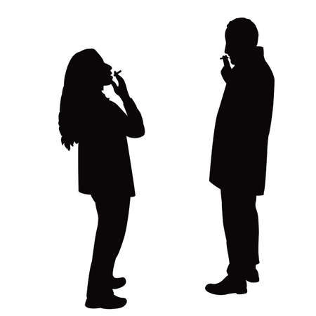 a couple smoking and making chat, silhouette vector Vettoriali