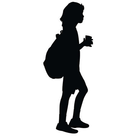 a boy with backpack, silhouette vector