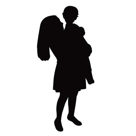 a girl and a baby body silhouette vector