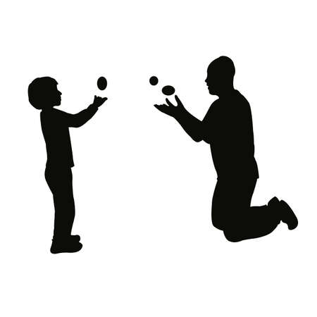 a boy and a man juggling body silhouette vector