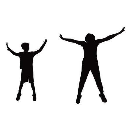 a woman and boy jumping body silhouett vector