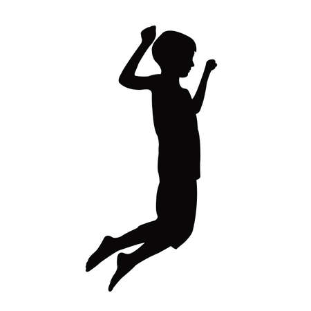 a boy jumping body silhouette vector  イラスト・ベクター素材