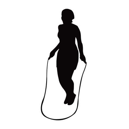 a woman jumping rope, silhouette vector