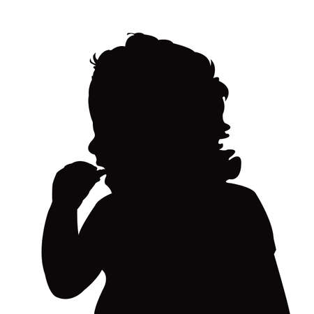 a bbay eating, head silhouette vector