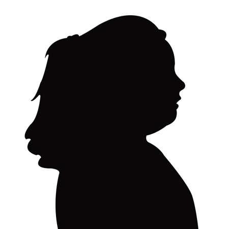 a girl head silhouette vector Vettoriali