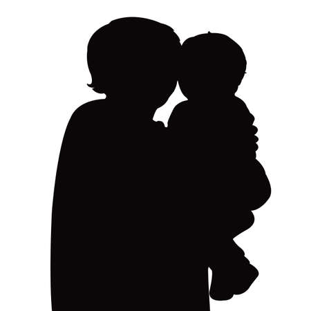 a mother and baby head silhouette vector