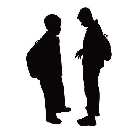 two school boys silhouette vector Vettoriali