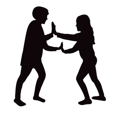 a boy and a girl playing silhouette vector