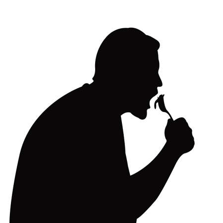a man eating head silhouette vector