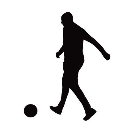 a man playing football silhouette vector