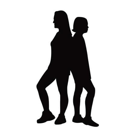 two women body silhouette vector Vettoriali