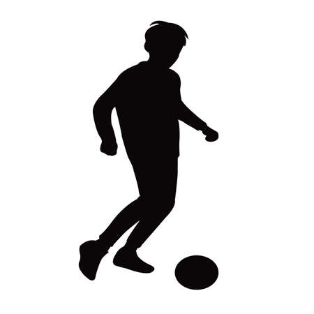 a boy playing football silhouette vector Vettoriali