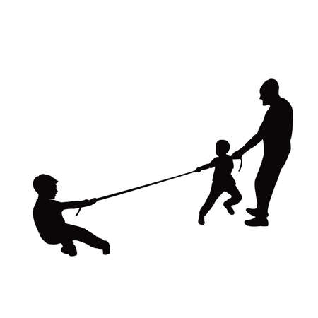 a man and boys playing tug of war, silhouette vector