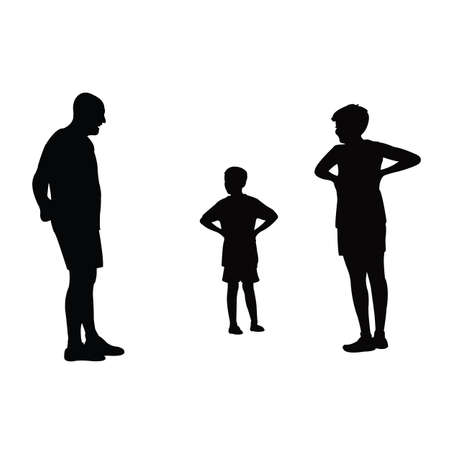 a man and two boys making chat, silhouette vector