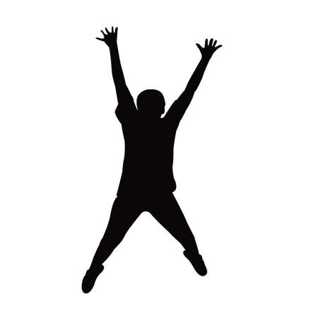 a child jumping body silhouette vector Vettoriali