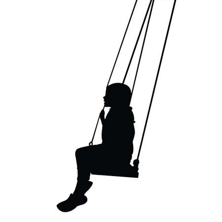 a child swinging body silhouette vector