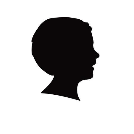 a boy head silhouette vector Vettoriali