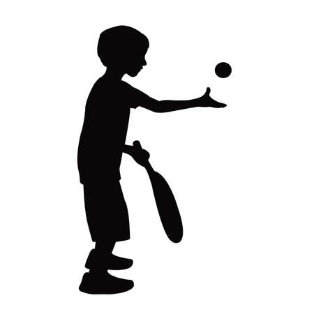 a boy playing tennis, silhouette vector Vettoriali