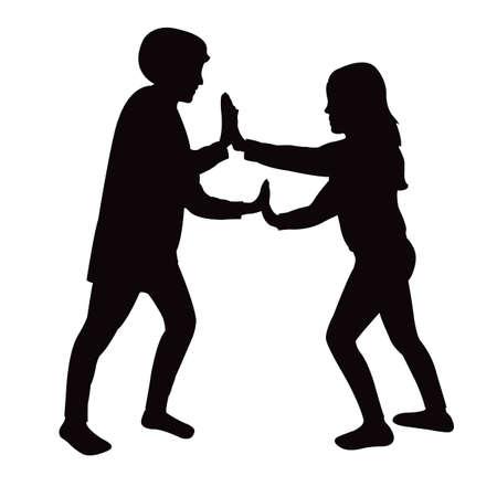 a boy and a girl body silhouette vector Vettoriali