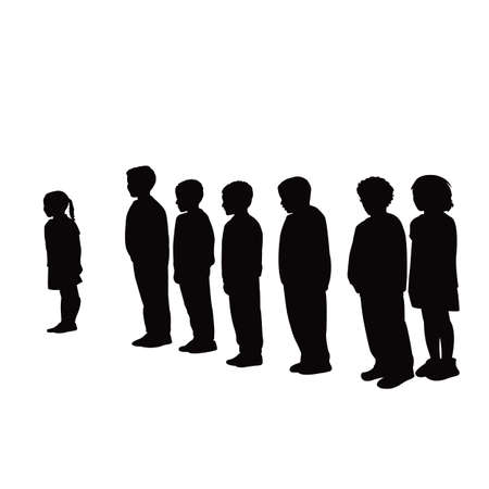 children together silhouette vector