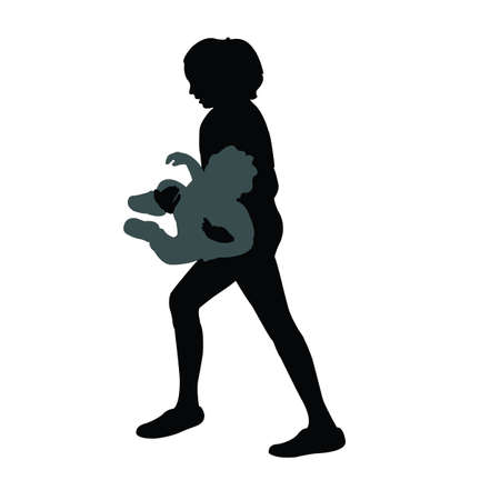woman holding the baby silhouette vector Vettoriali