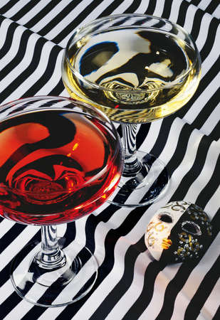 signes du zodiaque: Nature morte avec verre de vin et un masque. Signes du zodiaque. Twins. Banque d'images