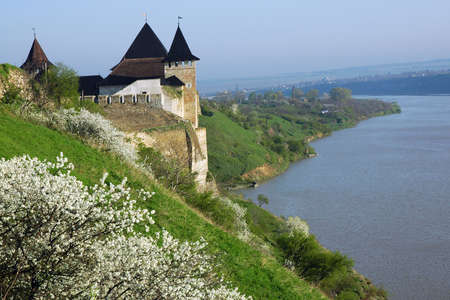 Medieval fortress with towers and defensive walls in  the Hotyn Chernivtsi region Ukraine