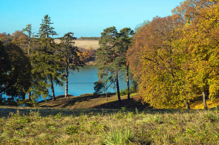 Landscape Park estate of Kachanovka autumn on a sunny day Chernigov region Ukraine