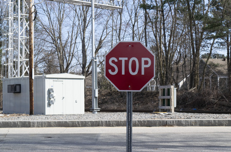 Stop sign with train signal