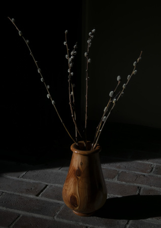 Wooden Vase With Pussy Willows on Fireplace Bricks