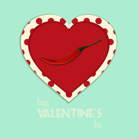 spicy chilli: Spicy Valentine Heart with Chilli Pepper on Vintage Background