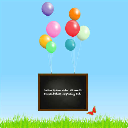 batterfly: Blackboard with Sample Text and Balloons on a Blue Sky Background
