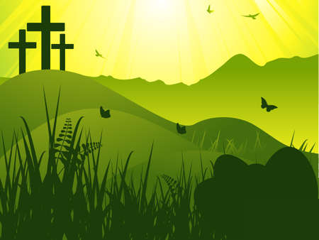 batterfly: Easter Scene on Landscape with Cross and Eggs