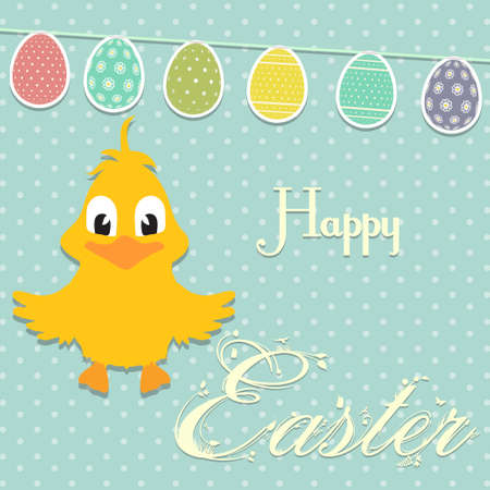 chick: Easter Chick and Bunting with Text Background