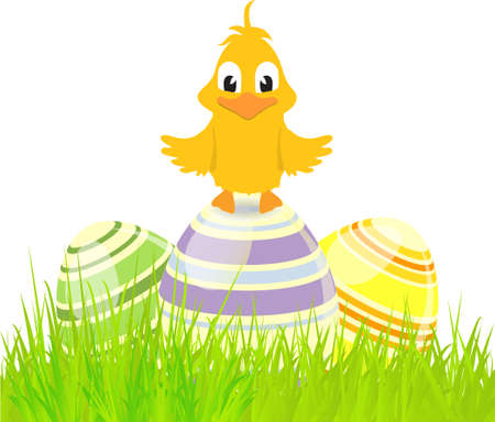 chick: Easter Eggs and Cute Chick on Grass