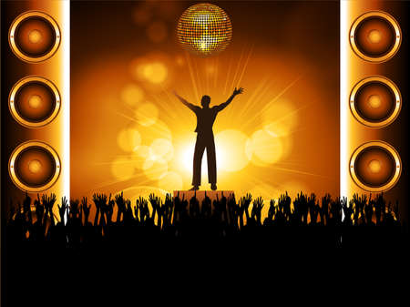 loud speakers: Disco Ball with Speakers and Silhouette and Crowd Background