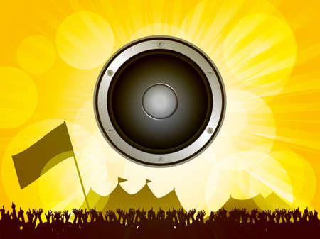 tends: Festival Scene with Crowd and Big Speaker on Summer Background