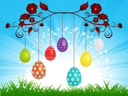 dangling: Easter Eggs and Dangling on a Blue Sky and Grass Illustration