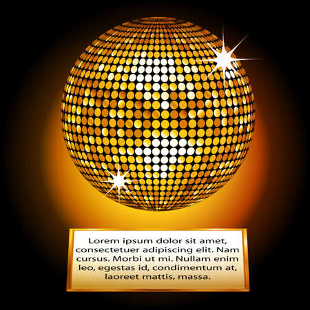 yellow ball: Golden Disco Ball on a Plaque with Sample Text Illustration