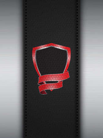 leather stitch: Red Shield on a Leather and Brushed Metallic Panel