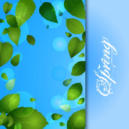 sample text: Spring Background with Leafs and Sample Text