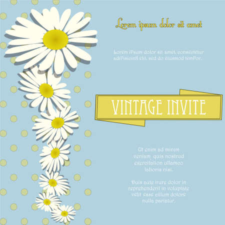 sample text: Vintage Invite with Chamomile Flowers and Sample Text