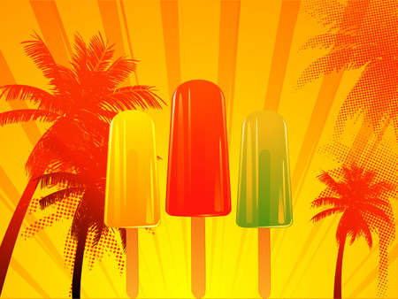 ice lolly: Tropical Hot Sunset with Ice Lolly Background