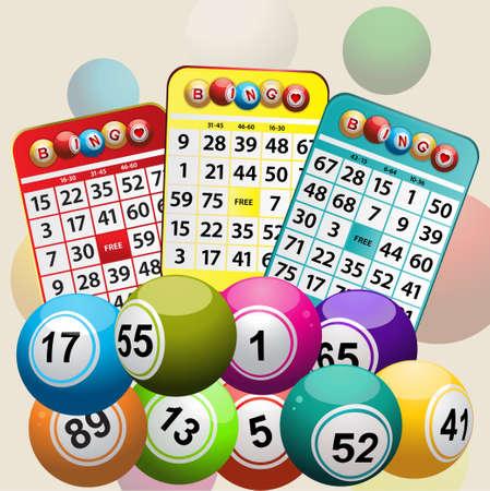 Set Of Bingo Cards and Bingo Balls Background