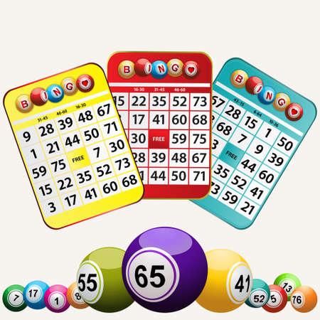 bingo: Conjunto De Tarjetas del bingo un Bolas de Bingo en el fondo blanco