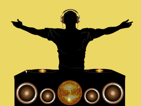 DJ with Record Deck and Speakers Disco Ball and Headphones