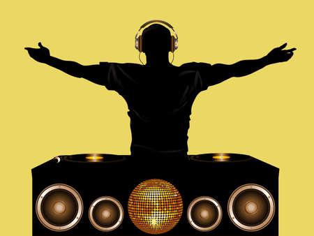 DJ con Cubierta Registro y altavoces Disco Ball y Auriculares