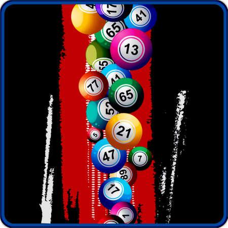 bingo: Bingo bolas que caen hacia abajo en el fondo Negro con Red Stripe